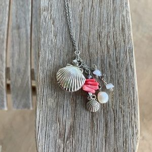 Pink Coral, Aquamarine, Silver Sea Shell Locket